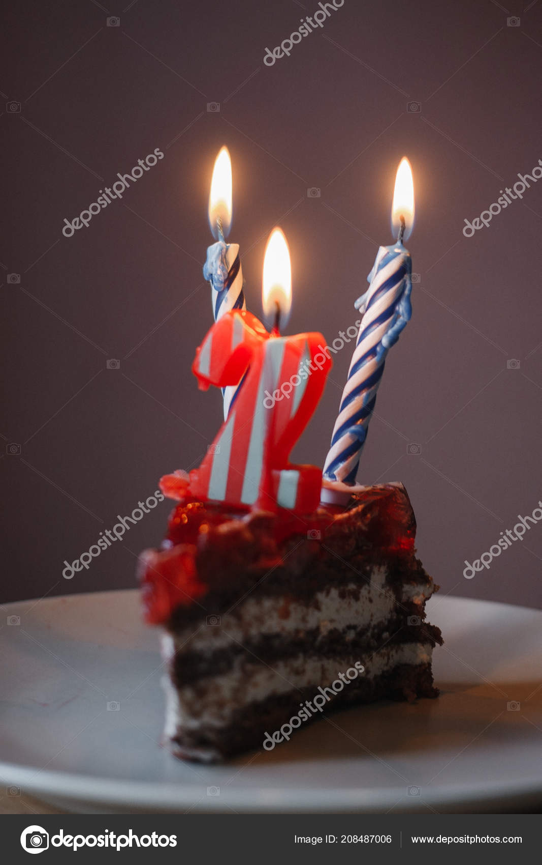 Piece Cake Two Candles Candle Number Stock Photo