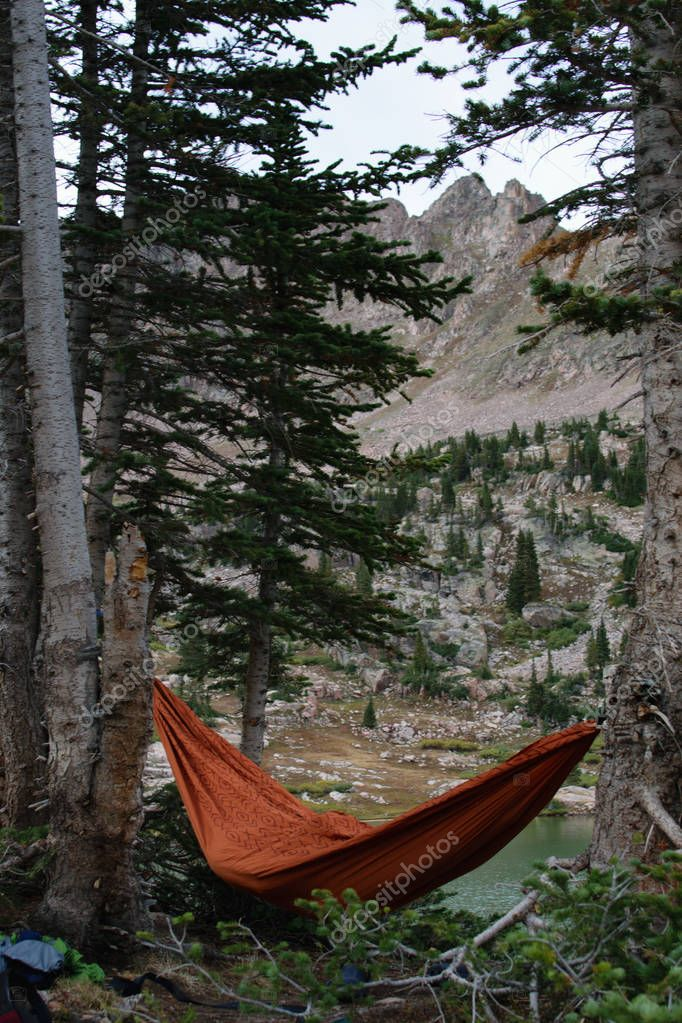 Hammocks by Mountain Lakes after a Backpacking Trek