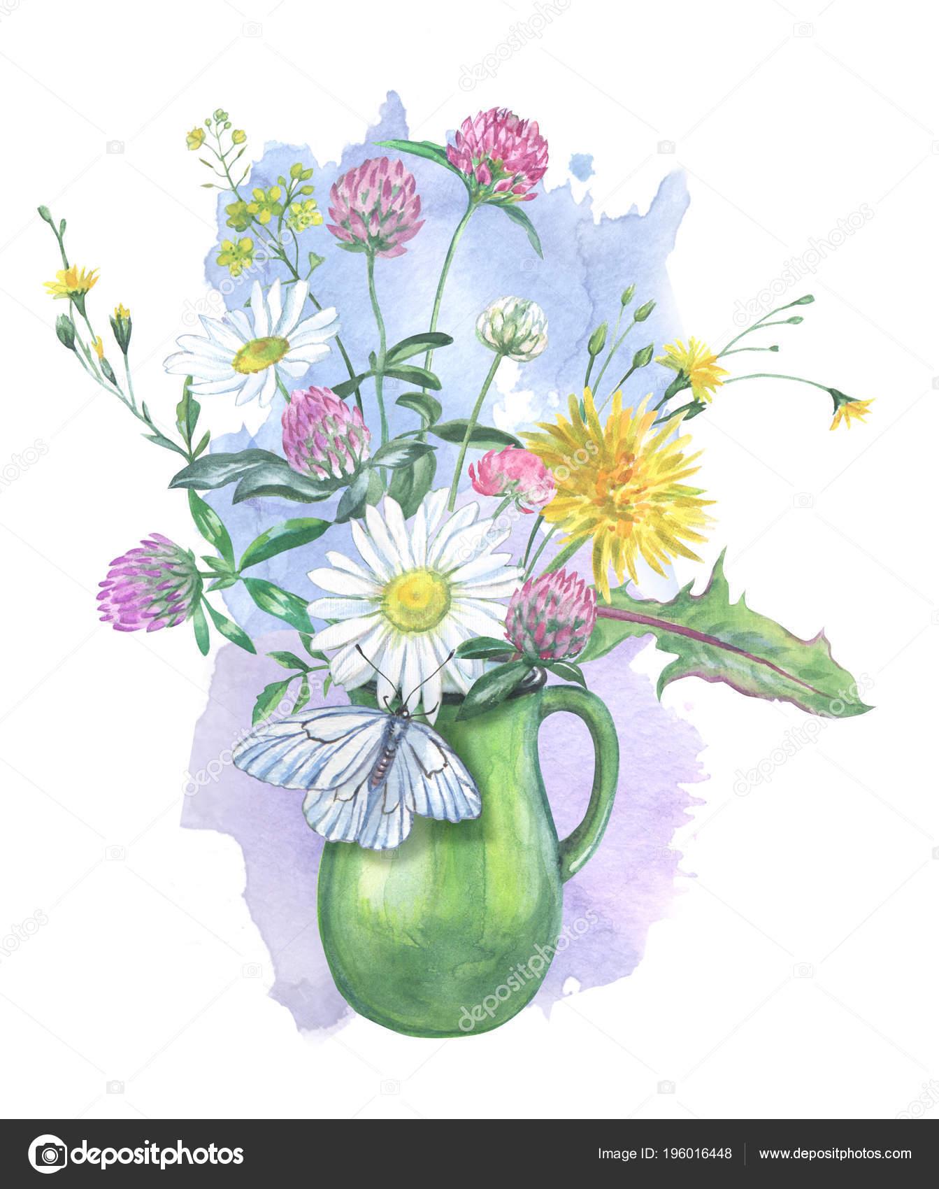 Bouquet Fleurs Été Dans Une Carafe Papillon Dessin — Photographie po_lelya@bk.ru © #196016448