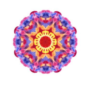 Concentric watercolor pattern, decorative element, mandala on a white background.