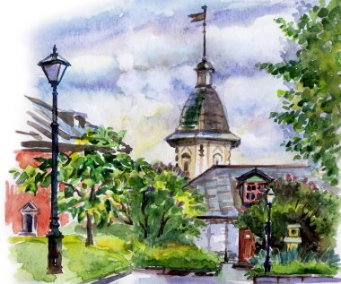 Yard in the Monastery, watercolor drawing. Moscow landscape, Andronikov monastery, sketch.