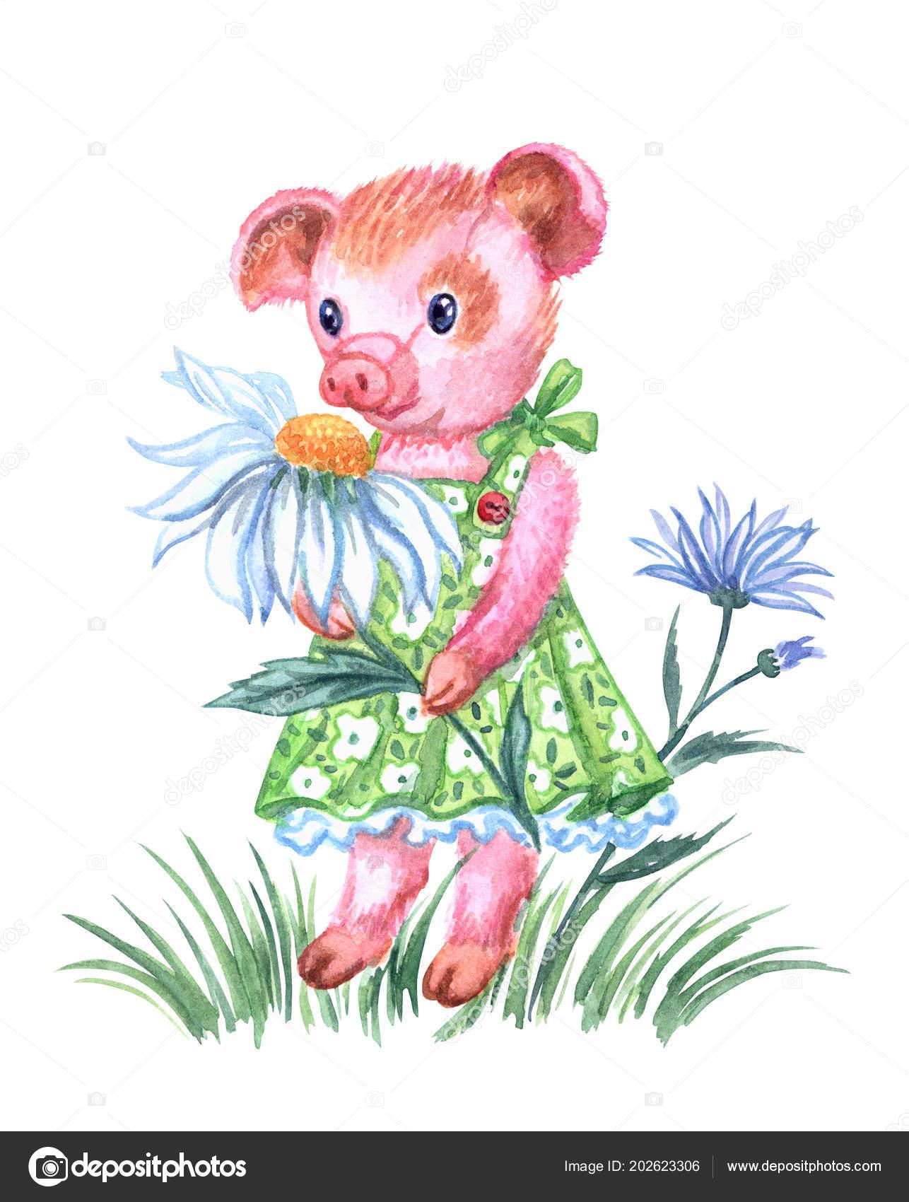Prasátko Dívka Letní Zelené Letní Šaty Heřmánku Akvarel Kresba Bílém ... 97173f2c26