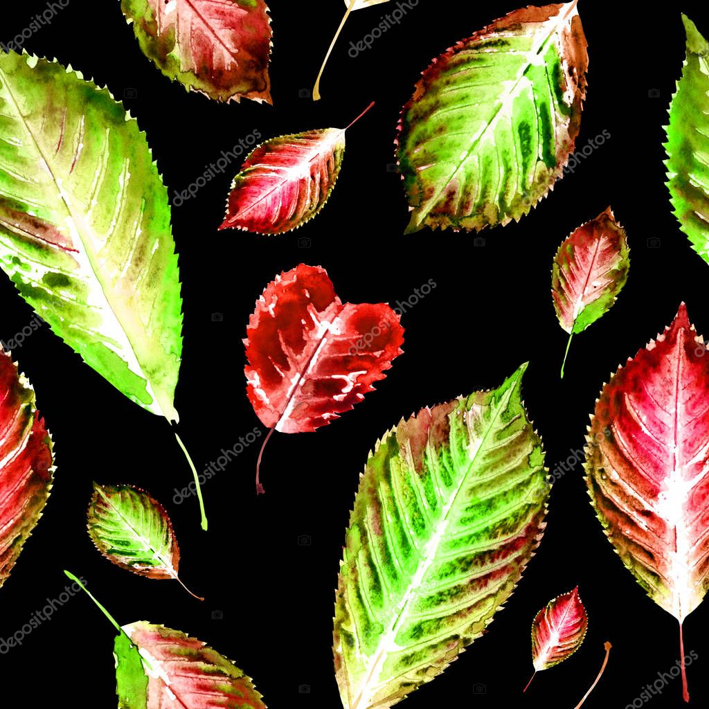 Seamless pattern of prints of autumn leaves and leaf in the form of hearts, watercolor drawing on a black background. Background for greeting cards with St. Valentine's Day and other designs.