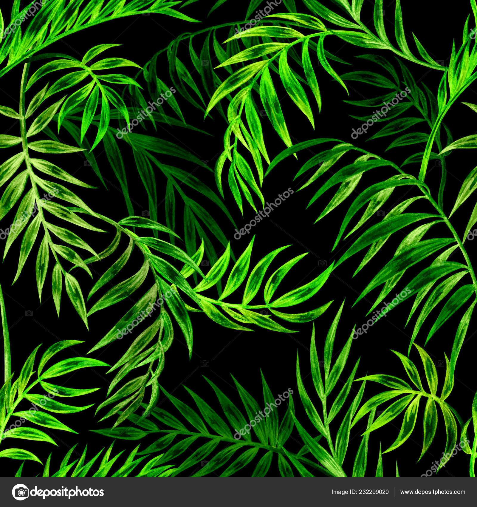 Seamless Pattern Green Palm Leaves Black Background Watercolor Illustration Tropical Stock Photo C Ollga P 09 232299020 Tropical leaves of monstera, watercolor painting. https depositphotos com 232299020 stock photo seamless pattern green palm leaves html