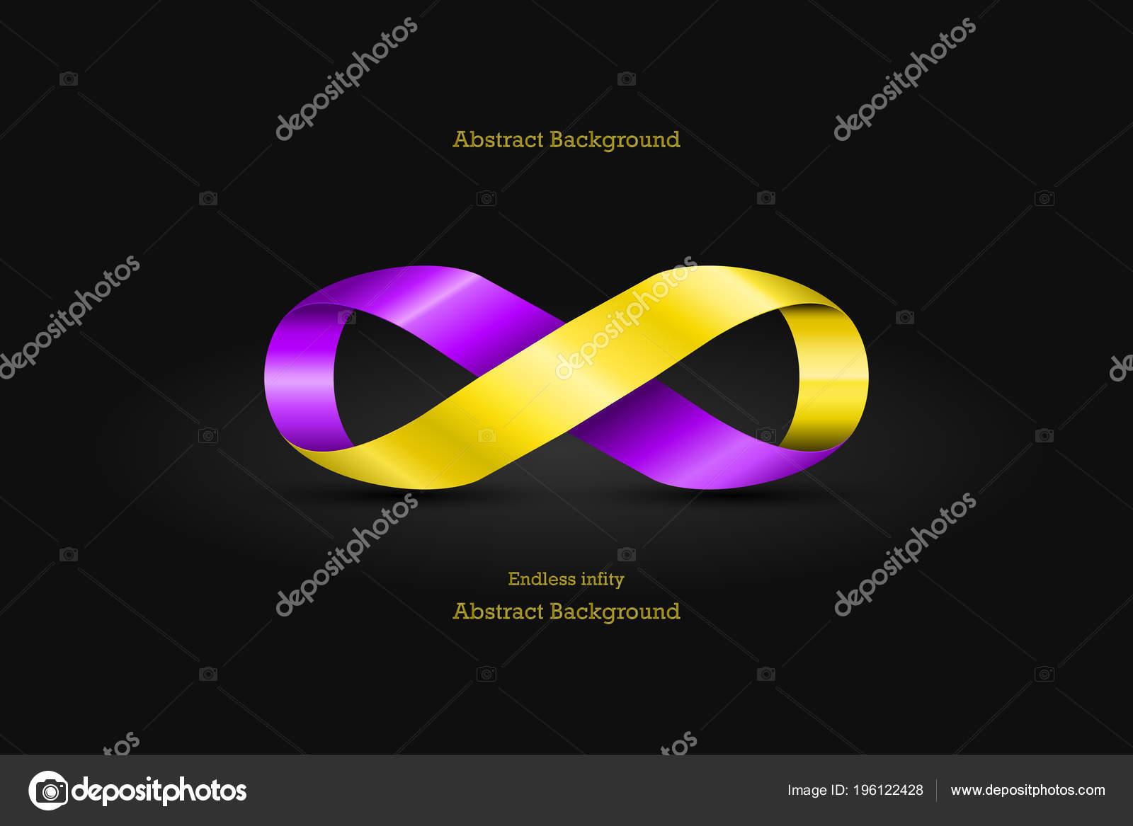 Luxurious Gold Purple Endless Infinity Sign Symbol Icon Black