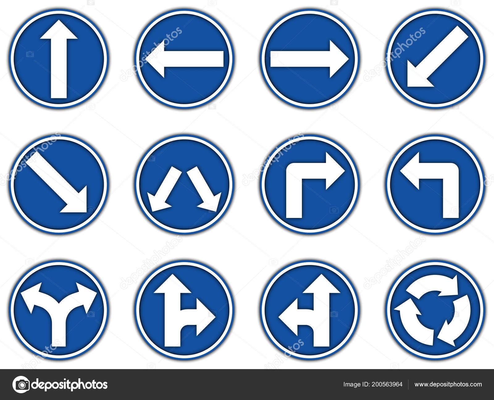 Grupo Colección Icono Azul Señales Reglamentarias Para Papel