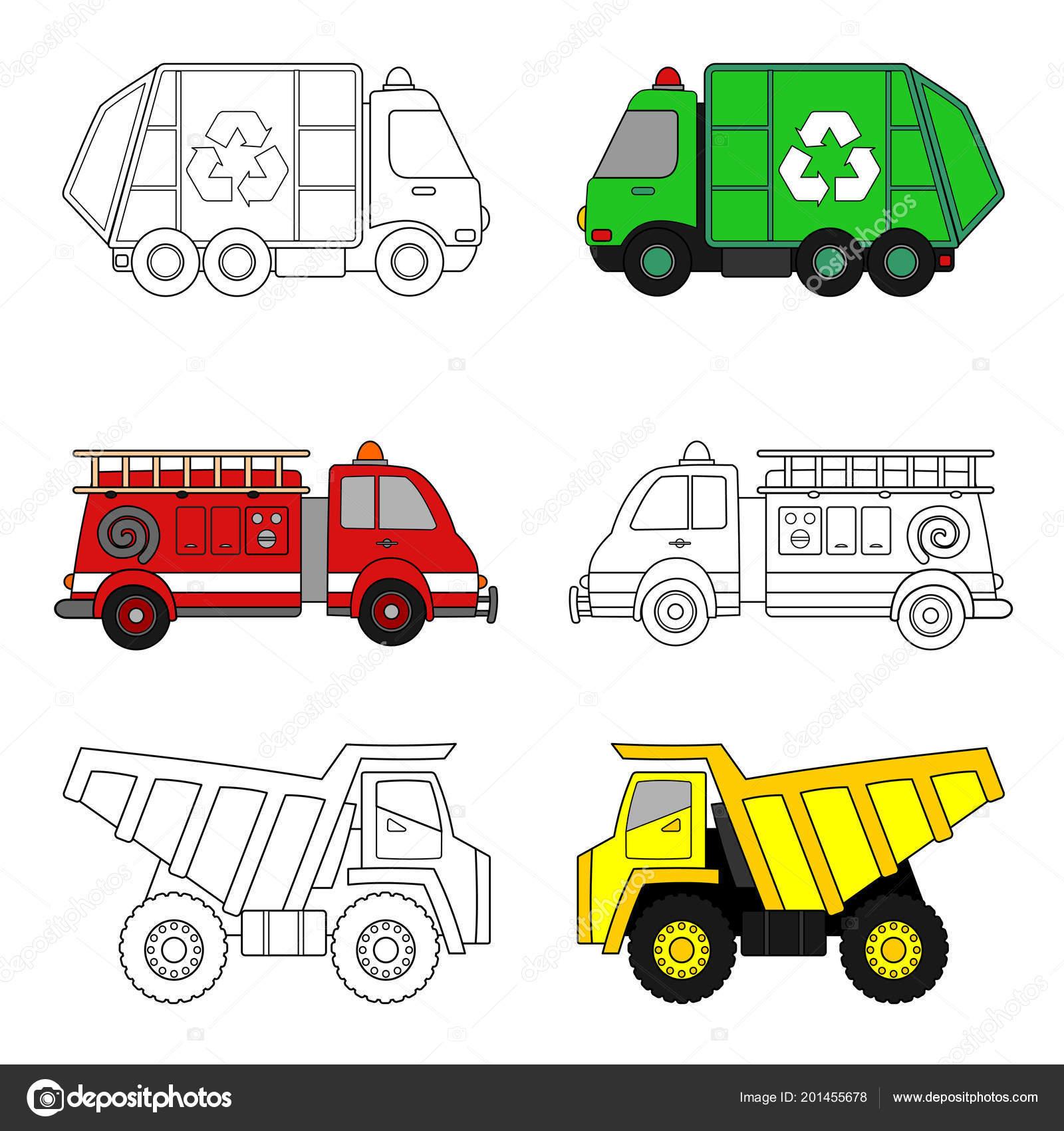 kleurplaat voor kinderen vuilniswagen brandweerwagen