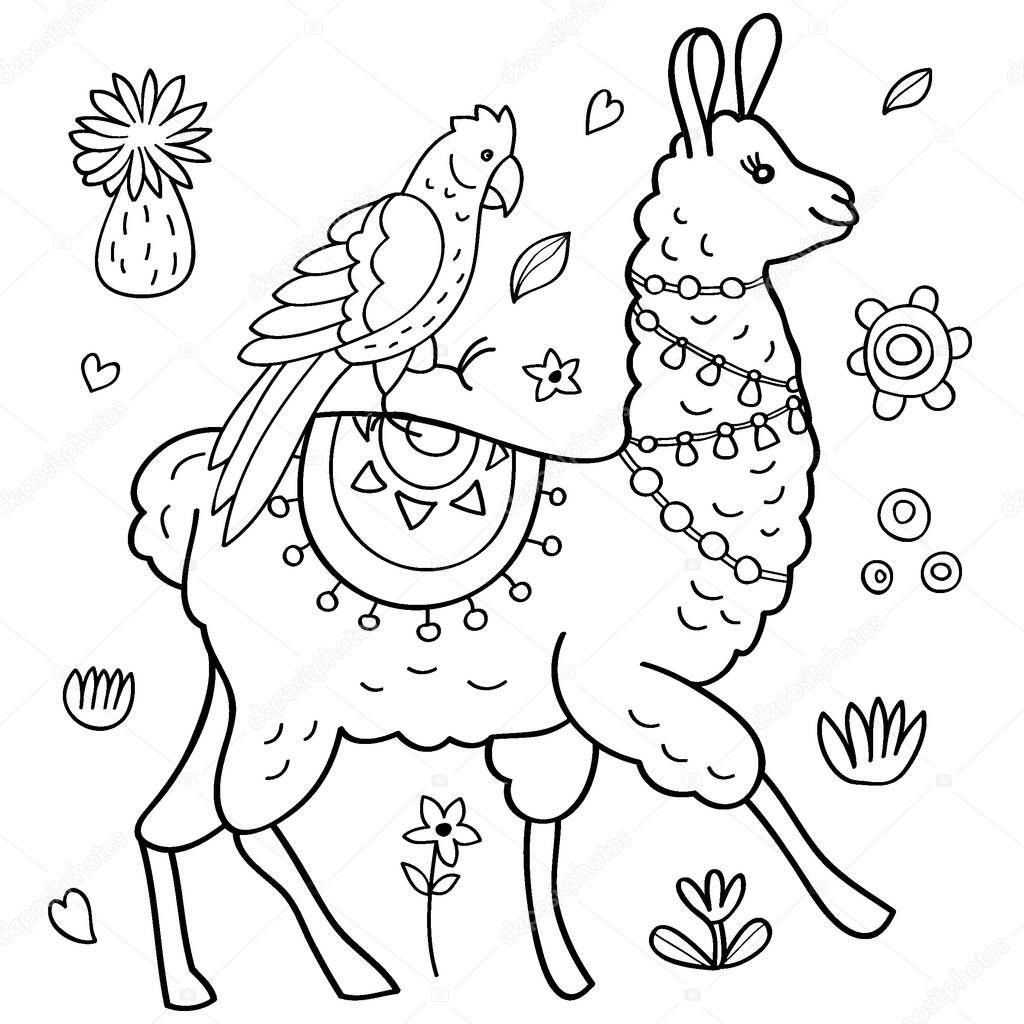 cute llama alpaca and parrot coloring page vector illustration premium vector in adobe illustrator ai ai format encapsulated postscript eps eps format cute llama alpaca and parrot coloring