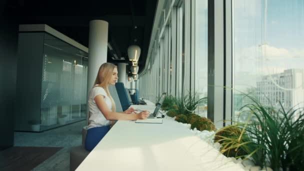 Üzletasszony laptop új irodában dolgozik. A nő ül asztal mellett korszerű ablak és használ laptop napfény oldalnézete