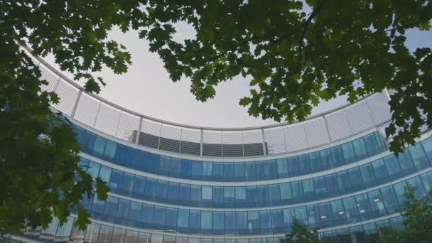 Panorama in a Modern Glass Business Office Round Building. Modern Architecture in Sunny day
