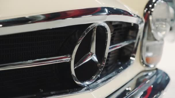Close-up of Mercedes benz icon