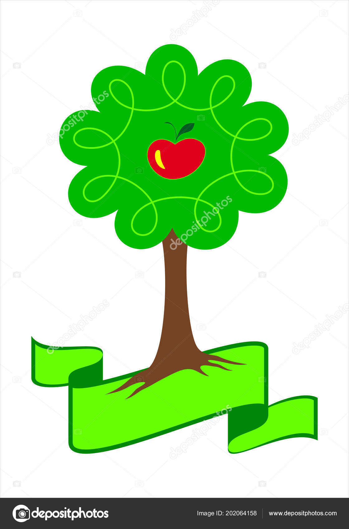 Stylized Apple Tree Logo Young Apple Tree Green Leafs Roots Vector Image By C Pod2011 Vector Stock 202064158