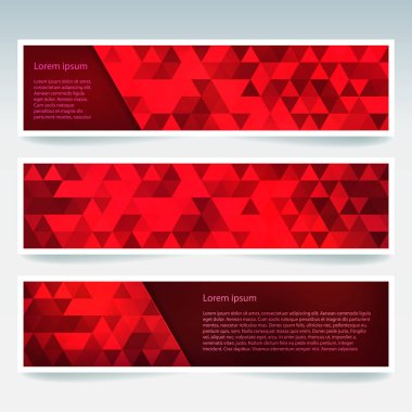 Set of red banner templates with abstract background. Modern vector banners with polygonal background