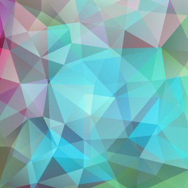 Background made of pastel green, blue, pink triangles. Square composition with geometric shapes. Eps 10