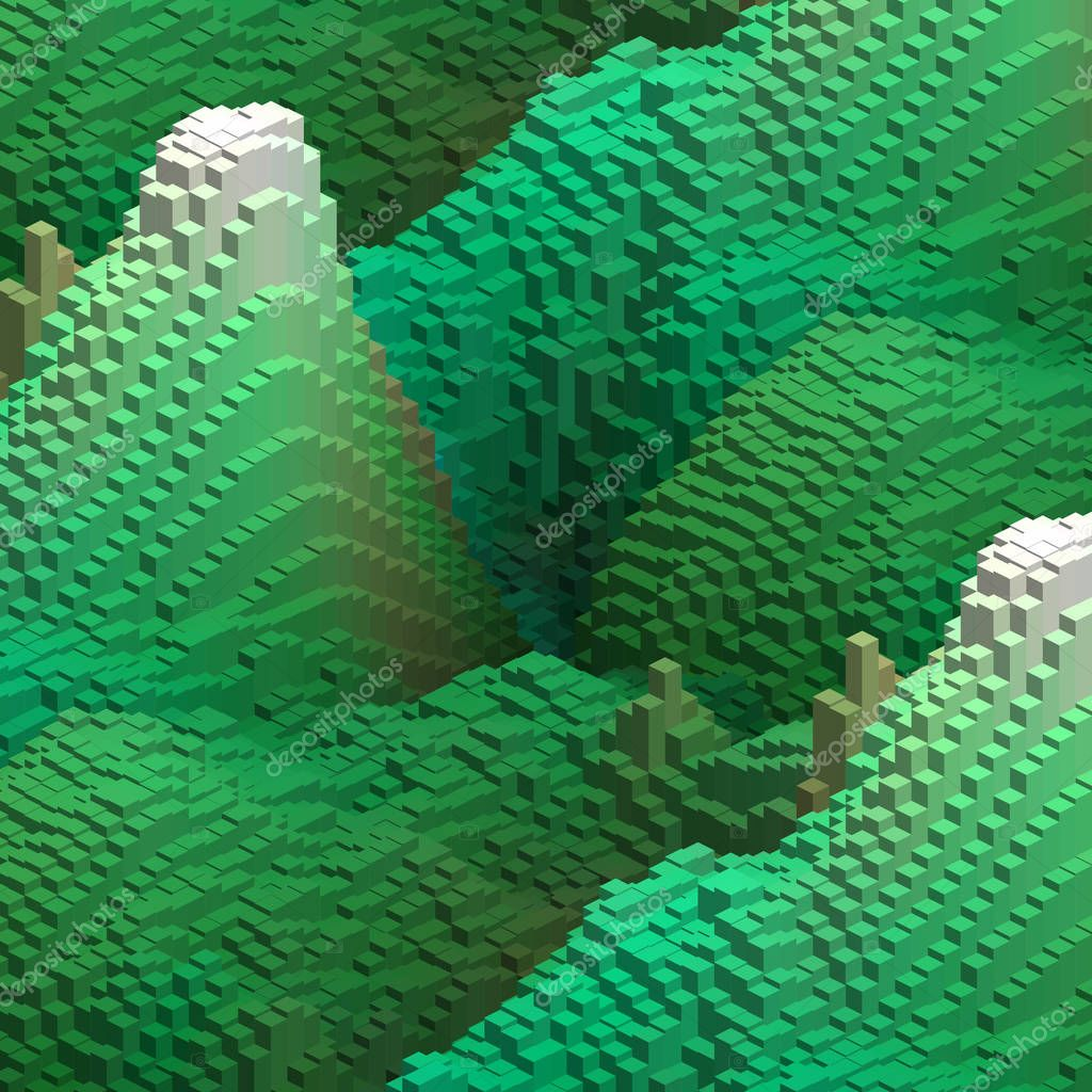 Green cubes in an abstract pattern for a background.