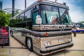 A touring bus once used for concert in Cleveland, Ohio