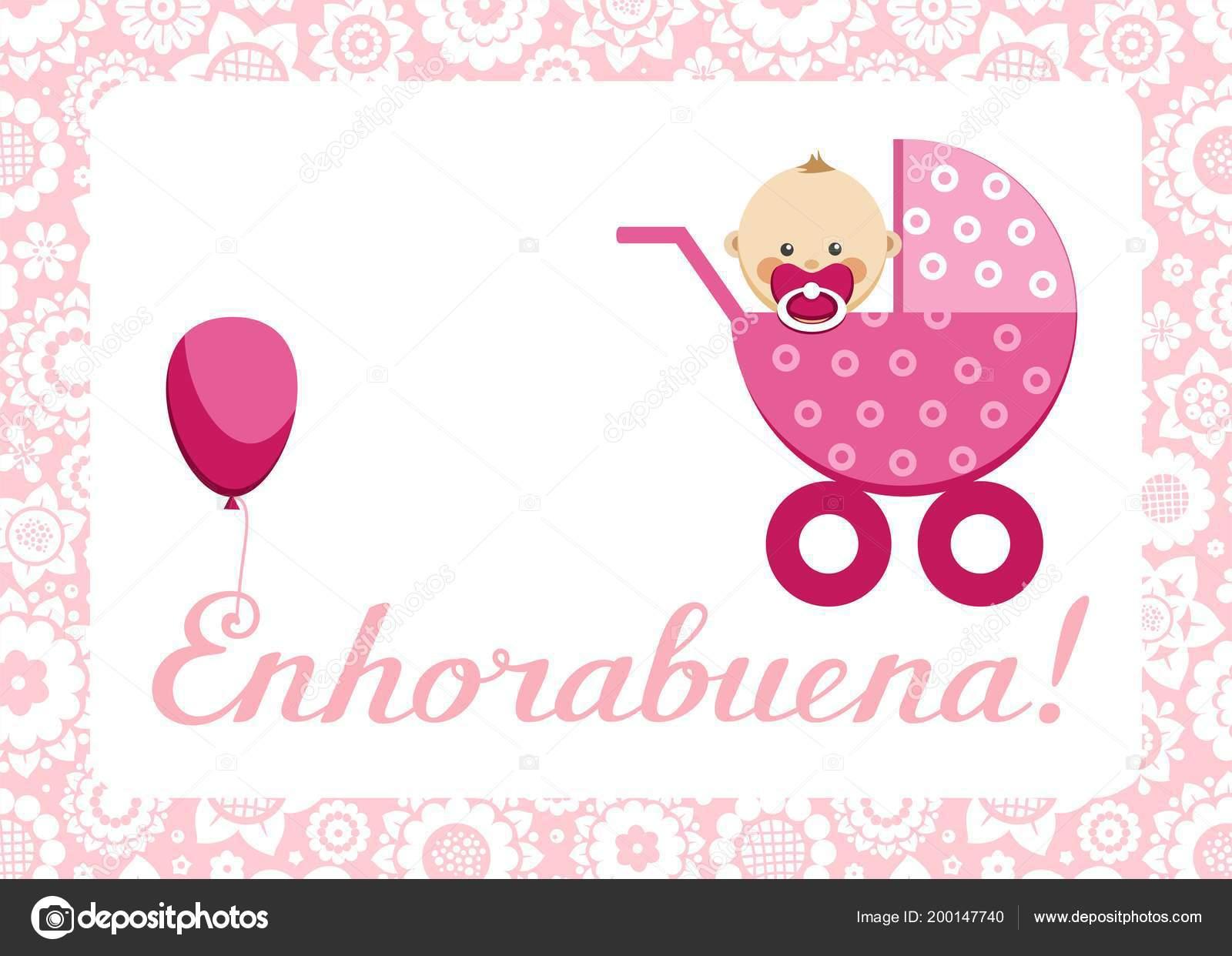 congratulations newborn baby girl postcard spanish vector pink stroller sits stock vector
