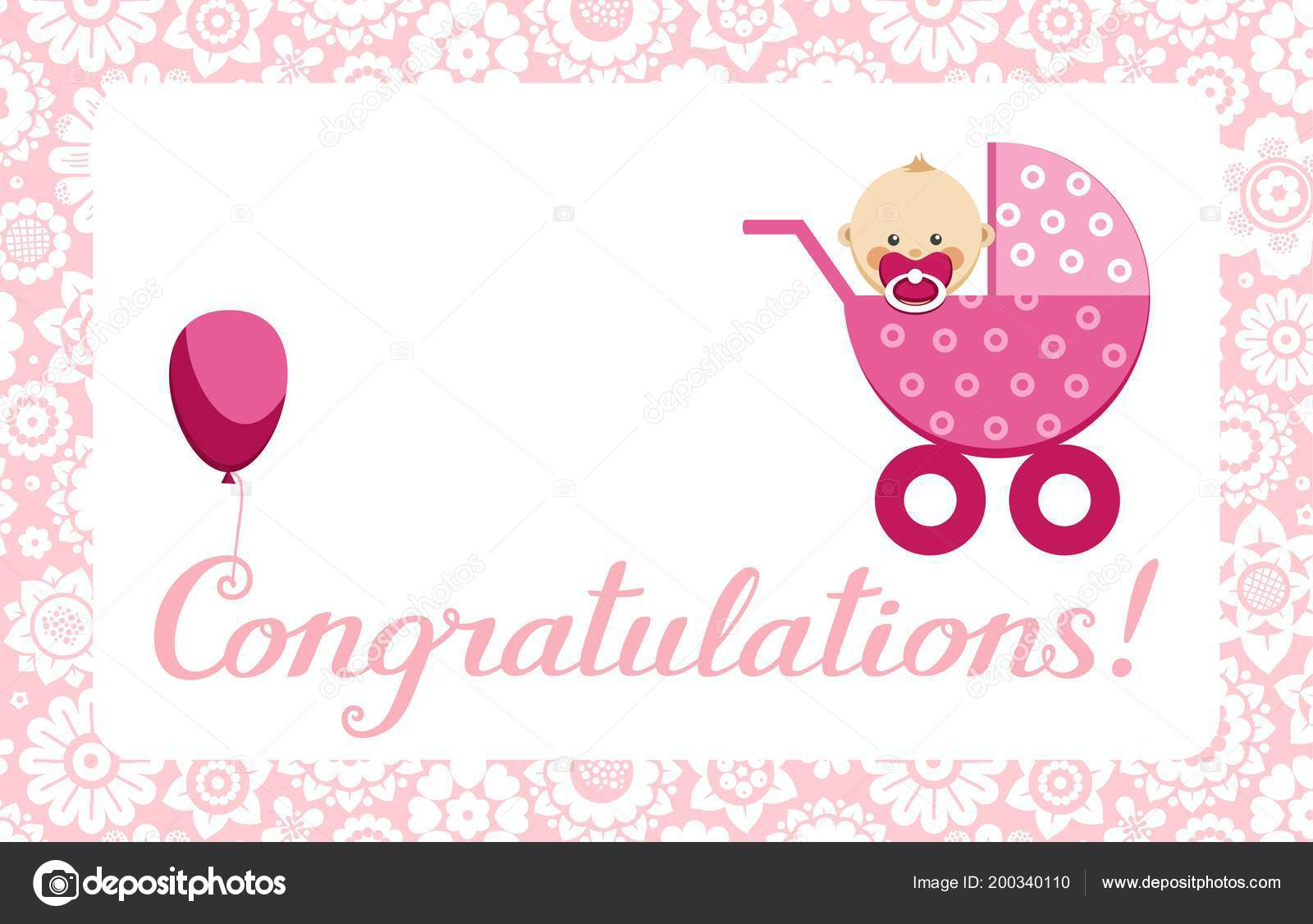 congratulations newborn baby girl postcard english vector pink stroller sits stock vector