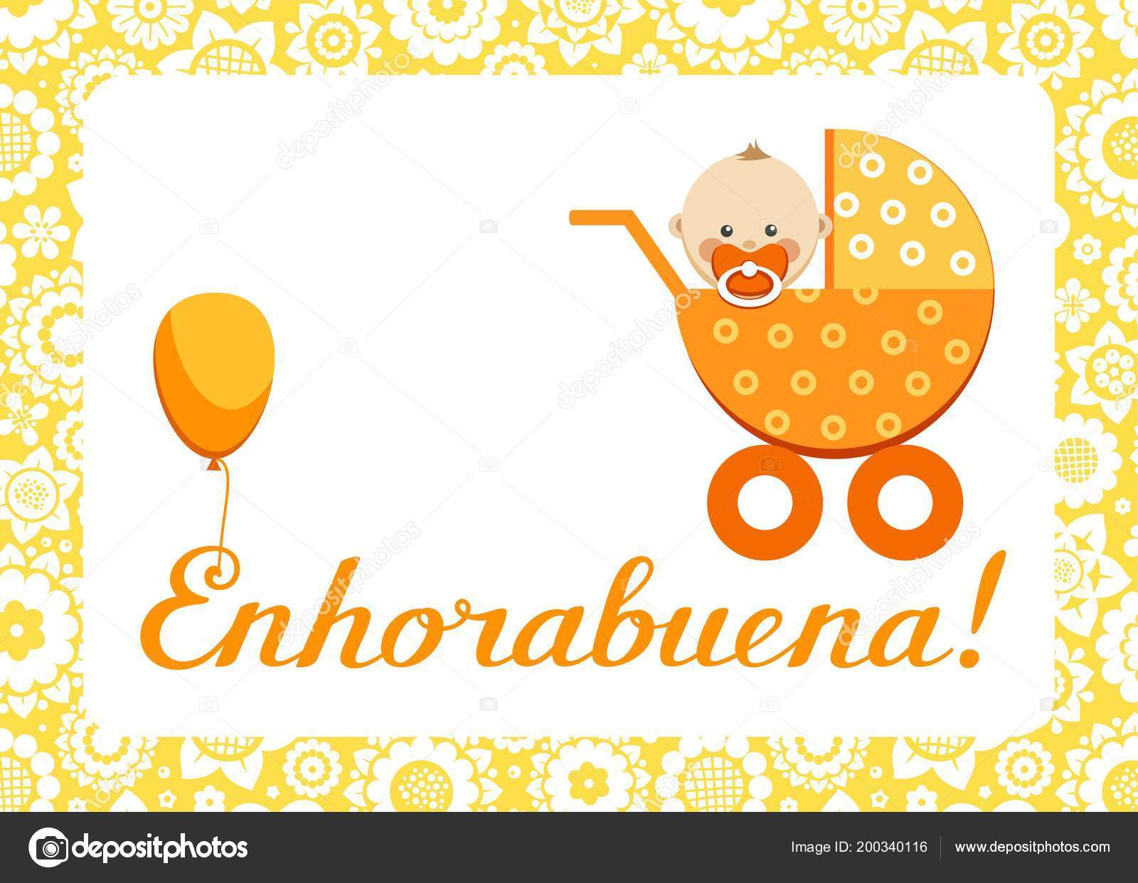 Congratulations new baby greeting card spanish vector orange congratulations new baby greeting card spanish vector orange stroller sits stock vector m4hsunfo
