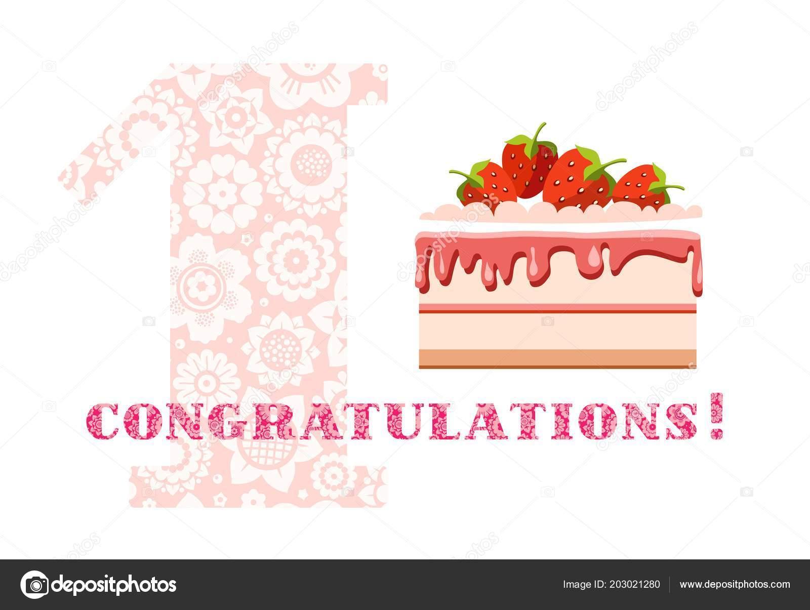 Herzlichen Glückwunsch Jahr Erdbeerkuchen Englisch Weiß Rosa Vektor