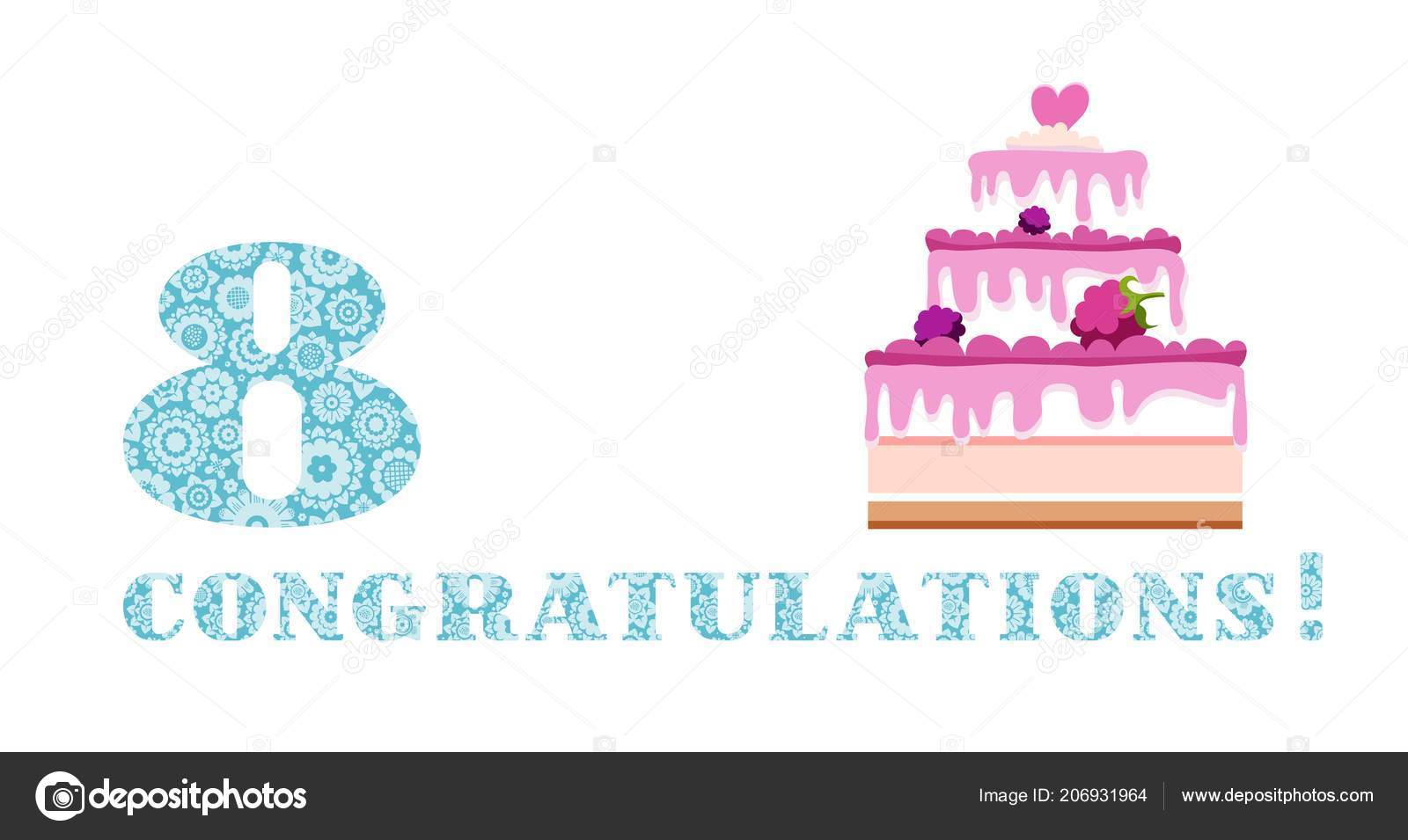 Geburtstag Grüße Jahre Alt Beeren Kuchen Englisch Weiß Blau Vektor