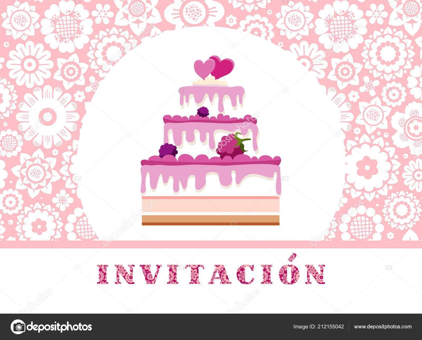 Invitation celebration berry cake spanish pink floral vector color invitation to celebration berry cake spanish pink floral vector color card invitation to a holiday event celebration the inscription in spanish stopboris Images