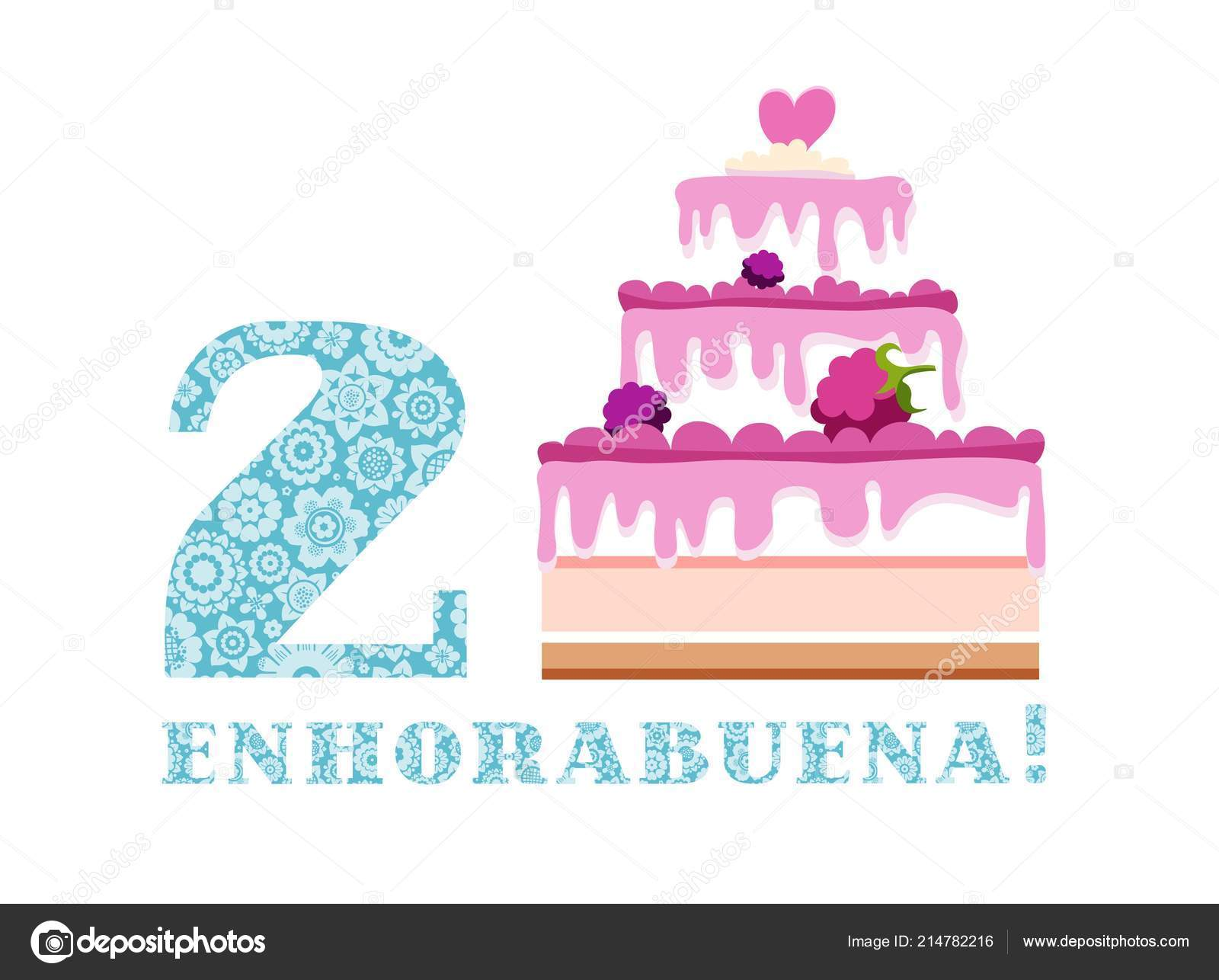 Geburtstag Grusse Beere Jahre Kuchen Spanisch Weiss Blau Vektor Alles