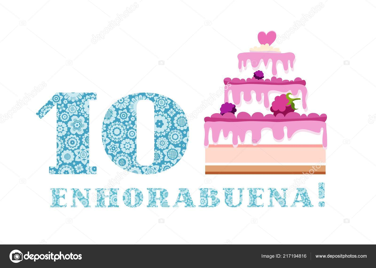 Geburtstag Grusse Beeren Jahre Kuchen Spanisch Weiss Blau Vektor Alles