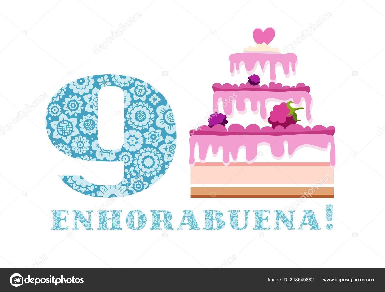 Feliz Aniversario En Espanol: Saludos Aniversario Años Pastel Vector Azul Español Blanco