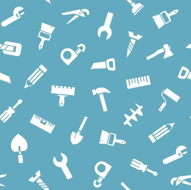 Hand tool, construction, seamless pattern, blue. White icons on a blue field. Color flat background. Vector.