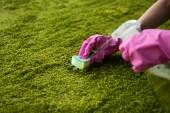 částečné prohlédnout osoby v gumové rukavice čištění koberce s hadr a pracích prostředků sprej