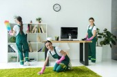 Photo collage of professional young cleaning company worker cleaning modern office