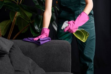 cropped shot of person in rubber gloves cleaning sofa with rag and detergent spray