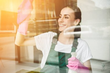 beautiful smiling young woman cleaning and wiping window with spray bottle and rag
