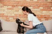 boldog nő játszik aranyos francia bulldog a nappaliban