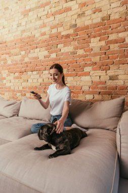Happy young woman holding remote controller and sitting on sofa with french bulldog stock vector