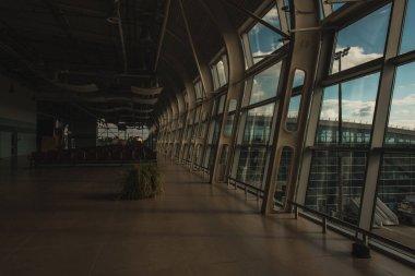 Interior with empty waiting hall of airport in Copenhagen, Denmark stock vector