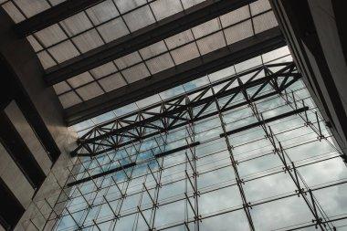 COPENHAGEN, DENMARK - APRIL 30, 2020: Bottom view of glass facade and roof of Black Diamond Royal Library, Copenhagen, Denmark stock vector