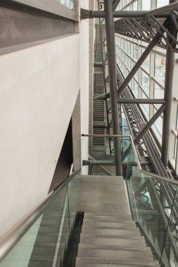 COPENHAGEN, DENMARK - APRIL 30, 2020: Stairs with railing in Black Diamond Royal Library, Copenhagen, Denmark stock vector
