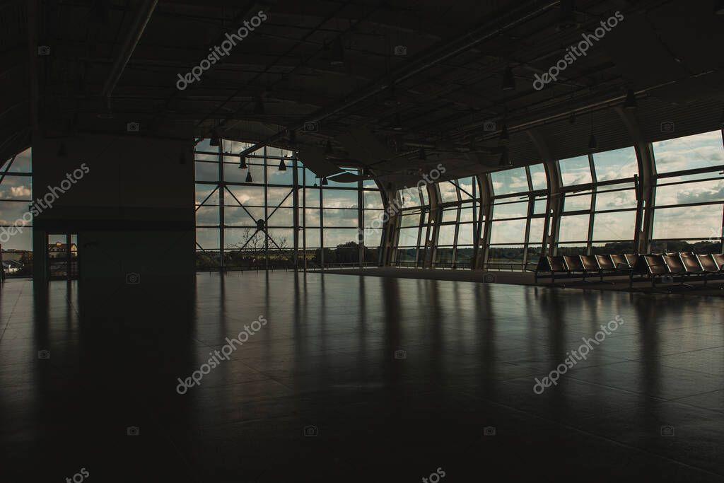 Empty waiting hall in airport in Copenhagen, Denmark stock vector