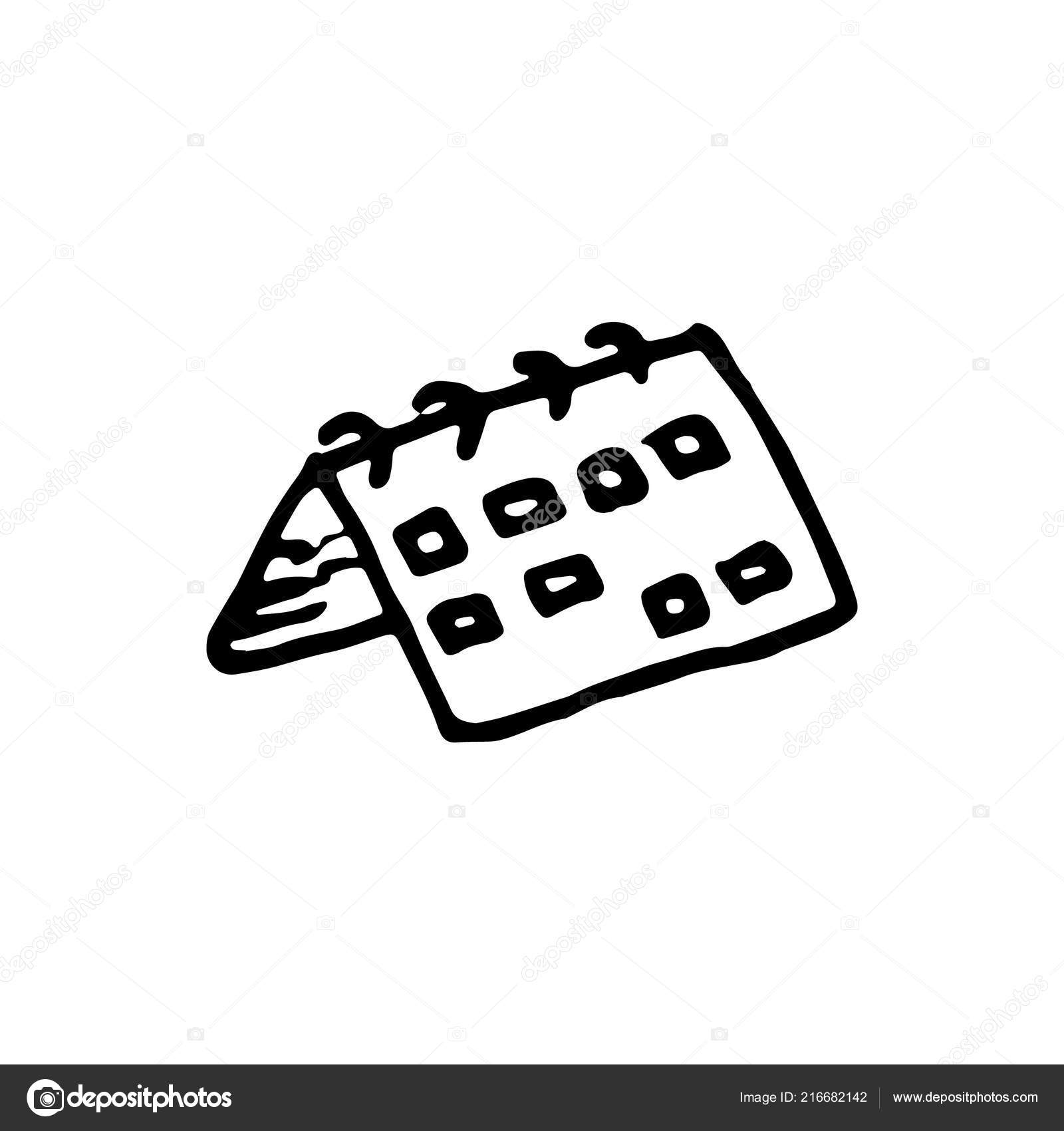 Calendario Dibujo Blanco Y Negro.Handdrawn Doodle Icono Calendario Dibujo Calendario Negro
