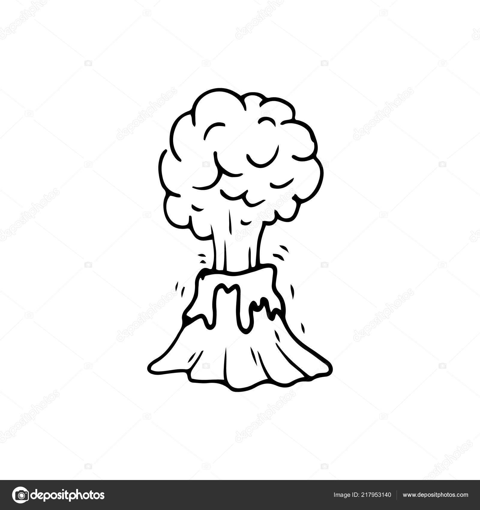 Icono Doodle Volcán Handdrawn Dibujo Negro Dibujado Mano Símbolo