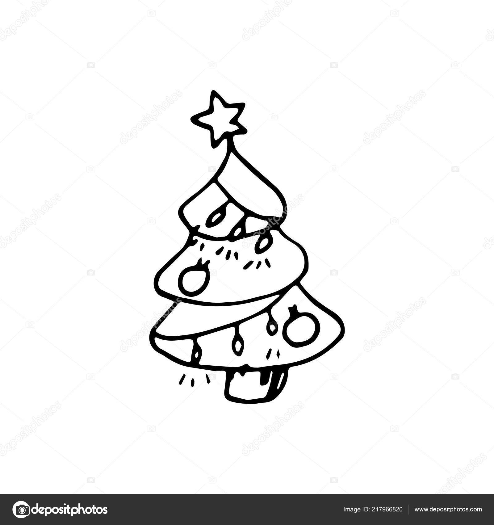 Hand Gezeichnet Weihnachten Baum Doodle Skizze Stil Ikone ...