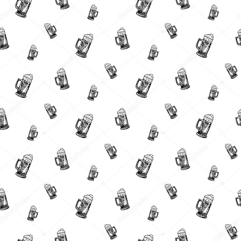 Seamless Pattern Hand Drawn Beer Mug Doodle Black Sketch Sign Symbol Decoration Element Isolated On White Background Flat Design Vector Illustration Premium Vector In Adobe Illustrator Ai Ai Format