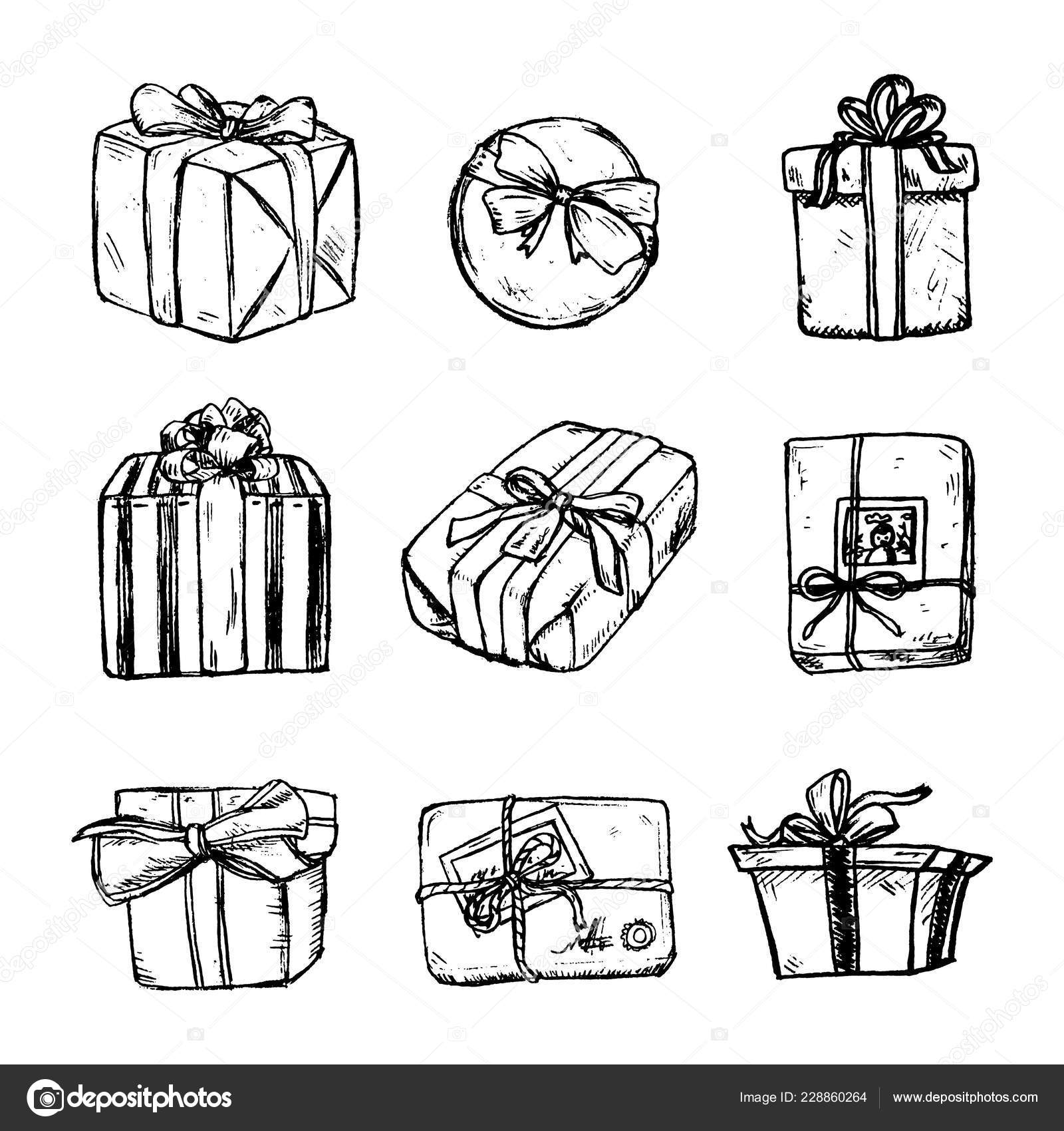 Set of pencil sketch of present box with a bow and ribbon gift boxes with string and bow hand drawn realistic concept top view close up drawing isolated