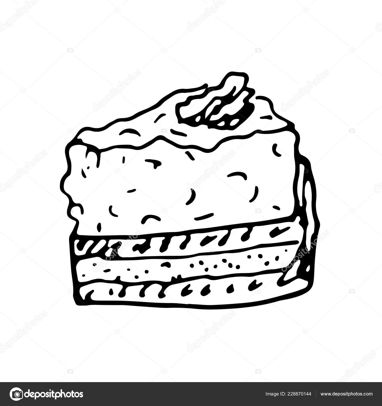 Hand Gezeichnet Kuchen Doodle Skizze Stil Ikone Dekorationelement