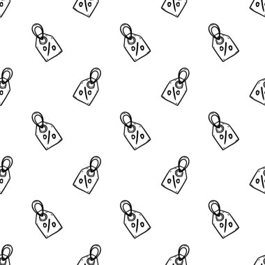 Seamless pattern Handdrawn badge procent doodle icon. Hand drawn black sketch. Sign symbol. Decoration element. White background. Isolated. Flat design. Vector cartoon illustration.