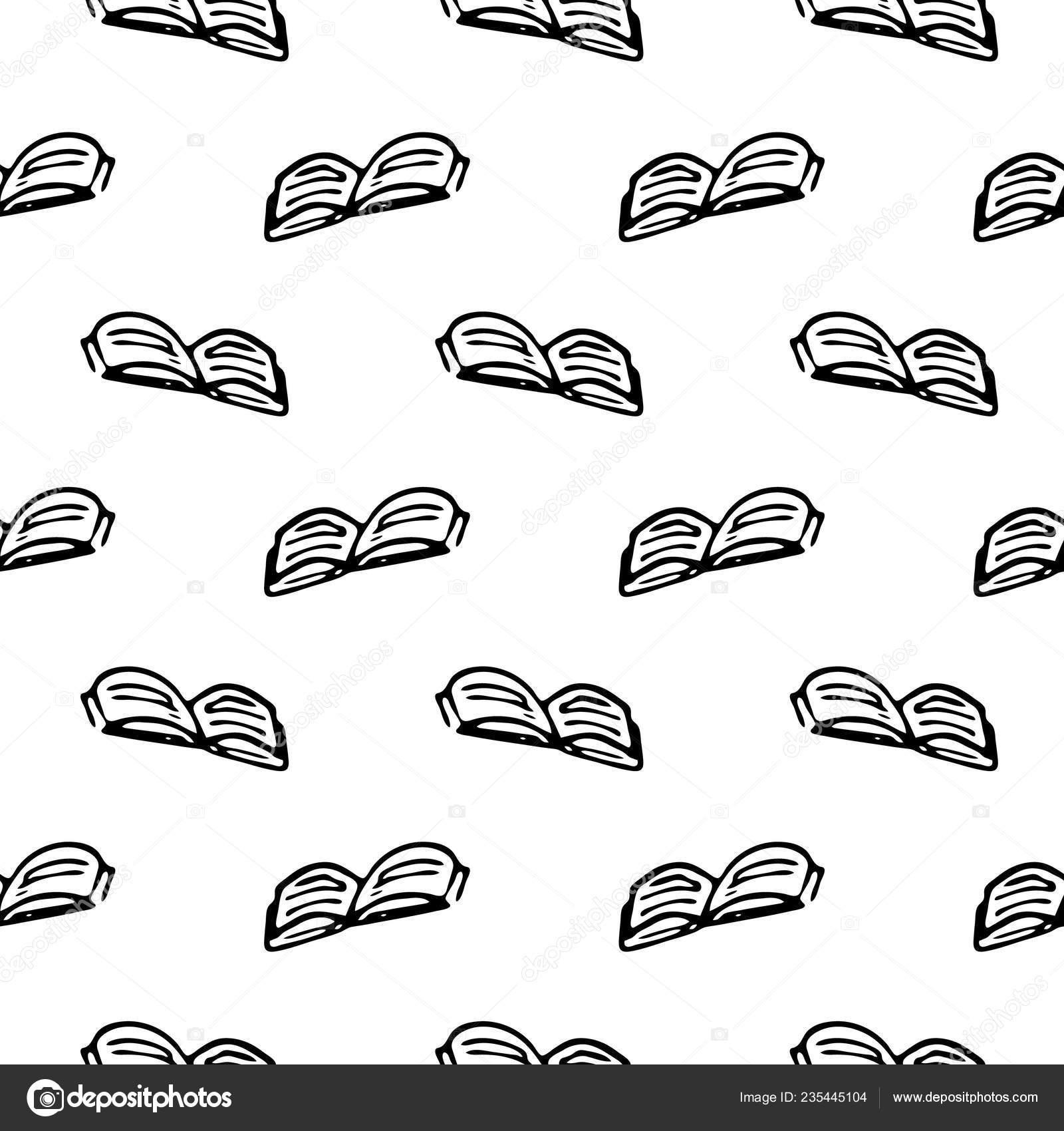 Doodle Motif Sans Couture Main Livre Dessine Retour Ecole