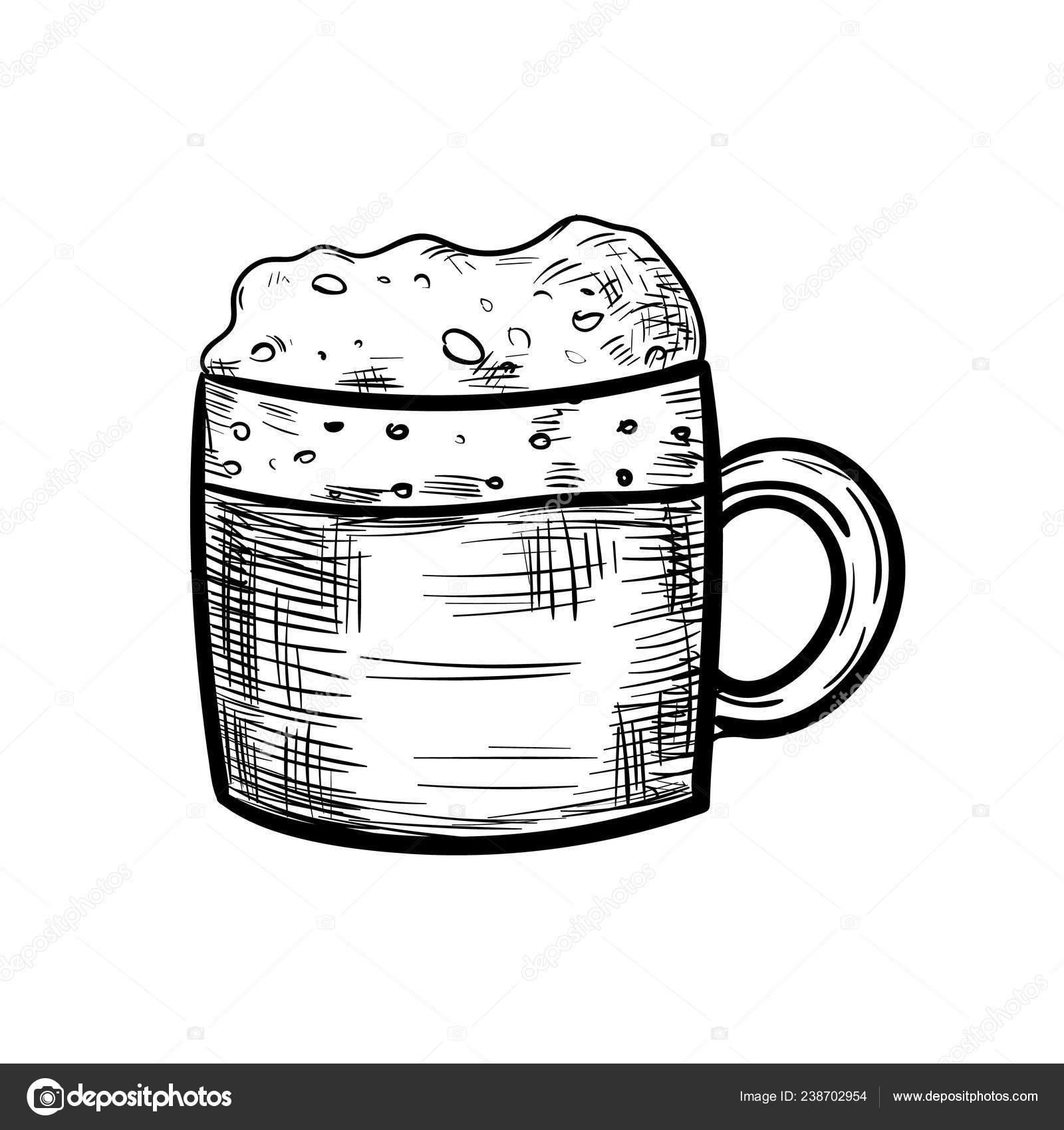Icon Mug Hand Drawn Beautiful Hand Drawn Fashion Beer Mug Icon Hand Drawn Black Stock Vector C Frozenbunn 238702954