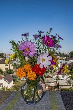 """Картина, постер, плакат, фотообои """"букет полевых цветов в стеклянной вазе"""", артикул 300238234"""